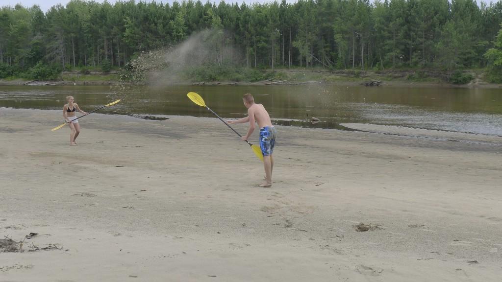 bataille de raquette et sable