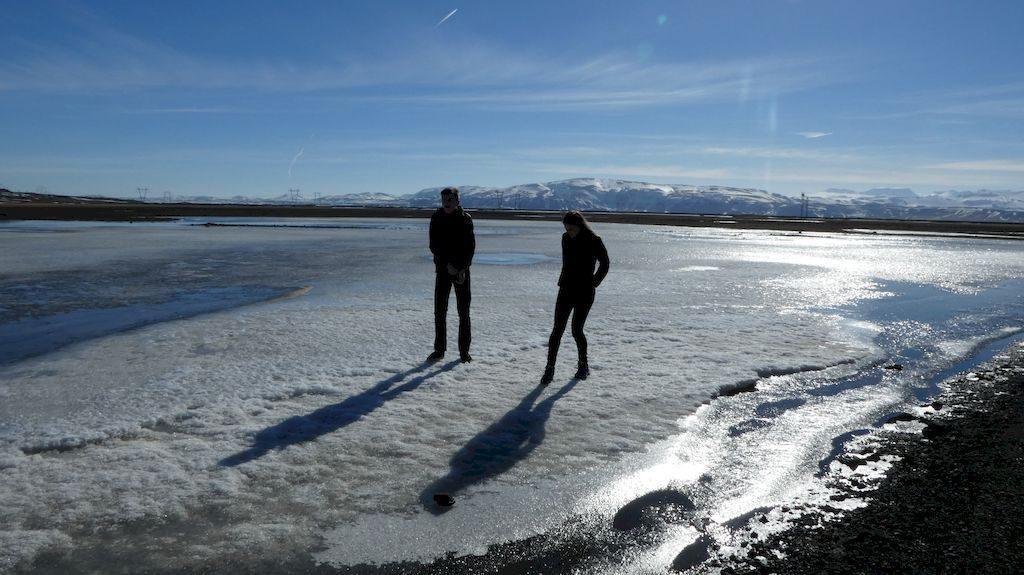 sur la glace gelée