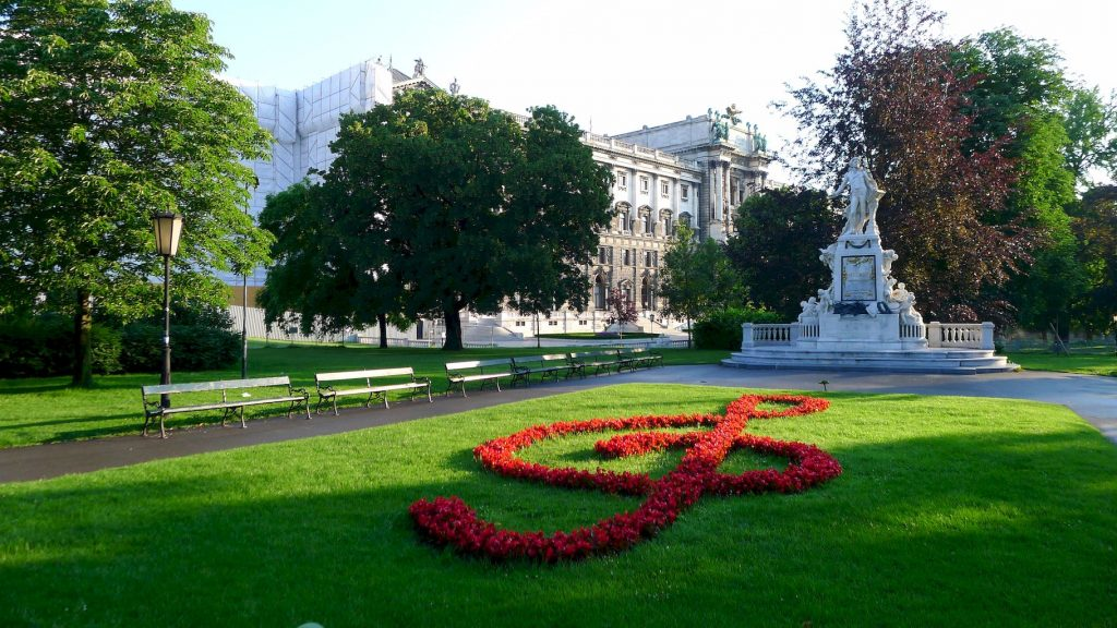 la statue de Mozart dans le burggarten