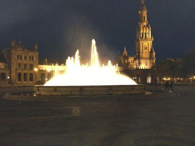 La place d'Espagne de nuit à Séville