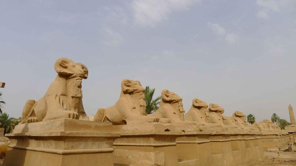 allée de statues de pierre à tête de bélier et pharaon entre les pattes